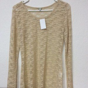 Charlotte Russe Lace Champagne Shirt Large